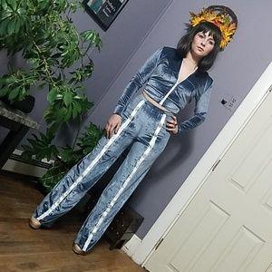Soft Blue Velvet Snap Leg Sweat Suit Hoodie & Pant